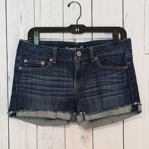 American Eagle Blue Denim Shorts Size 8 Cuffed